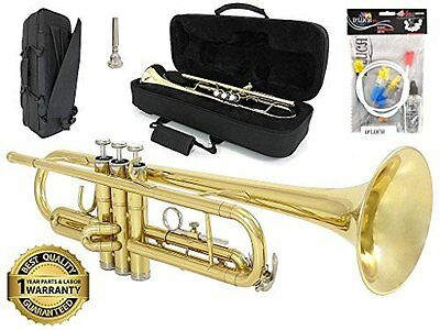 D'Luca 500 Series Gold Brass Bb Trumpet with Case & 1 Year Manufacturer Warranty