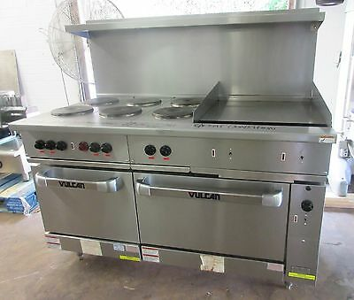 "Vulcan 6 Burner Electric Restaurant Range w/ 24"" Griddle Double Oven"