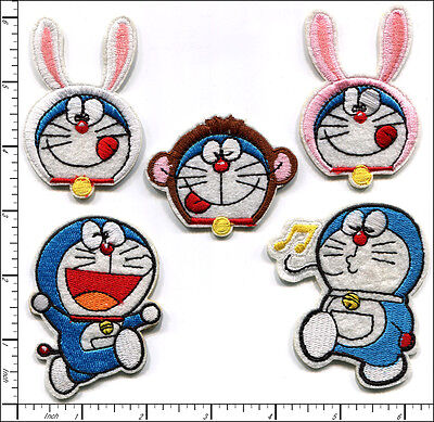 20 Pcs Embroidered Iron on patches 5 Model Mixed Doraemon Cat AP036eA