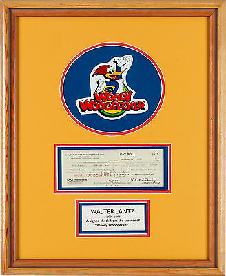 Walter Lantz Signed Paycheck with Woody Woodpecker Sticker (1975) Rare Art Item