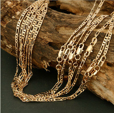 Hot 18k Gold Plated 2mm Italian Figaro Link Chain Necklace 22 Inches Unisex Gift