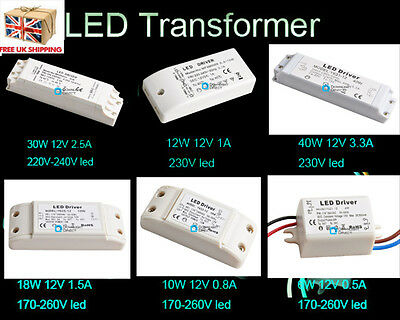 UK Newest CE LED Transformer Driver Driver DC 12V 6W-50W G4 MR16 Lamp UP 260V