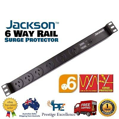 "Rack Mount Power Board Jackson 19"" 1 RU 6 Way Rail Surge Protector Protection 1U"
