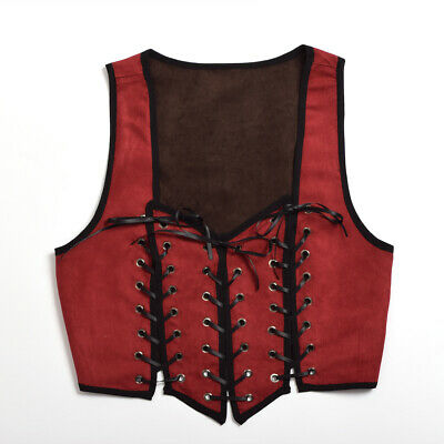 Medieval Women Reversible Lace Up Corset Renaissance Pirate Wench Bodice Costume