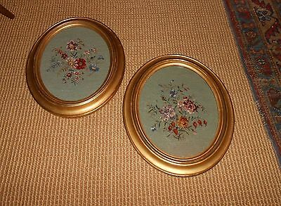 Vintage Pair Old Gold Gilt Oval Frames W/ Petit Point Floral Needlework