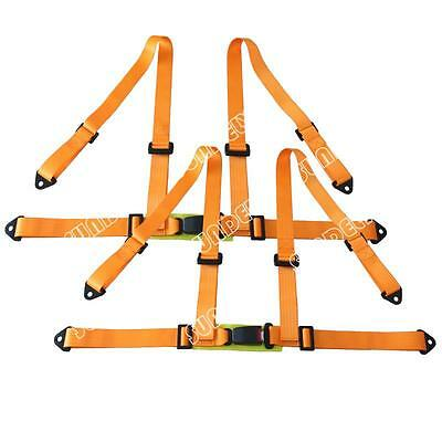 Sundely Sports Racing Harness Seat Belt 3 / 4 Point Fixing Mounting Orange Pair