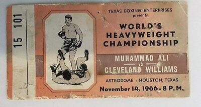 Muhammad Ali v Cleveland Williams - rare 1966 original onsite ticket