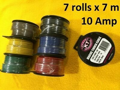 7 rolls 7 M x 10 Amp AUTO MARINE WIRE 3 mm  General pupose car electrical cable
