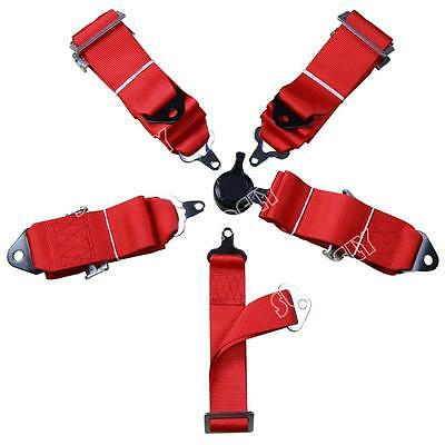 Seat Belt 4 5Point Racing Harness Kit Quick Release Track / Race / Drift Car Red
