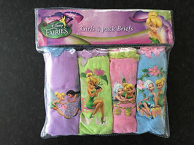 BNIP Girls Sz 3-4 Disney Fairies Pack of 4 Pure Cotton Briefs Pants Underwear