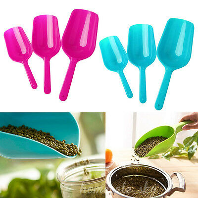 3pcs Multifunctional Pet Dog Cat Puppy Food Spoon Scoop Hand Shovel Plastic