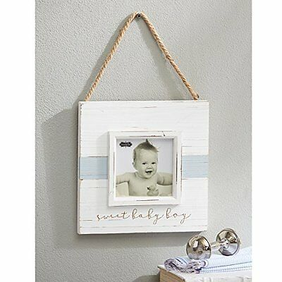 "Mud Pie Sweet Baby Boy Hanger Distressed Frame Nursery D?cor, Blue, 4"" x 4"""
