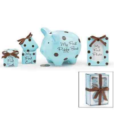 Baby Boy 4 Piece Keepsake Gift Set With Piggy Bank, First Tooth Box,First Curl