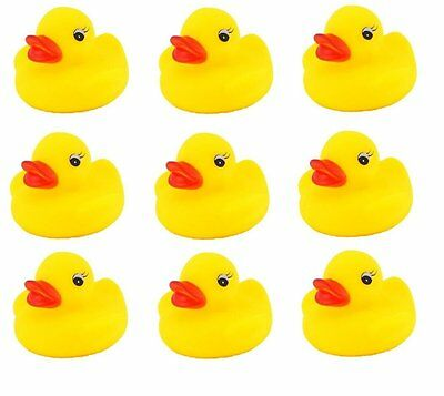 9 Mini Rubber Squeaky Yellow Ducks Bath Water Toys Party Bag Filler