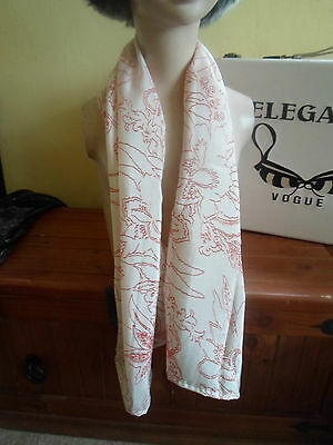 1 NEW Mixed Fibre Ladies Scarf Soft Ivory+Rust Colour Leafy Design Gift Idea #91