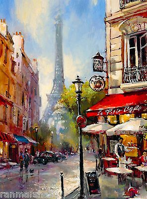 Paris France French Eiffel Tower Cafe European Travel Poster Advertisement