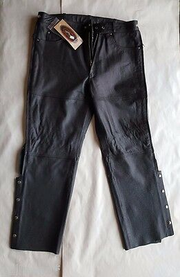 River Road Motorcycle Leather Riding Chaps Size 3Xl / Harley Davidson