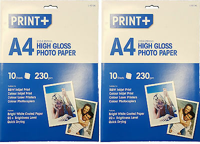 20 Sheets A4 High Gloss Photo Paper Inkjet, Laser Printer , Photocopiers 230gsm