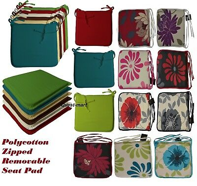 Seat Pad Polycotton Zipped Removable Cushion With Ties Best For Dining Garden