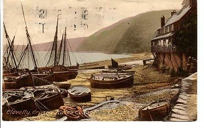 Vintage Postcard Clovelly Crazed Kates Cottage and Beach P6165