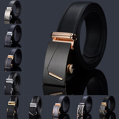 Automatic Buckle Black Belt Men Faux Leather Business Soft Gentleman Waistband