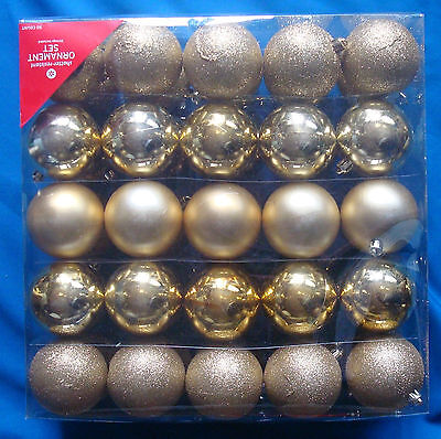 "set of 50 gold ornaments satin shiny glittered 2½"" shatter resistant NEW"