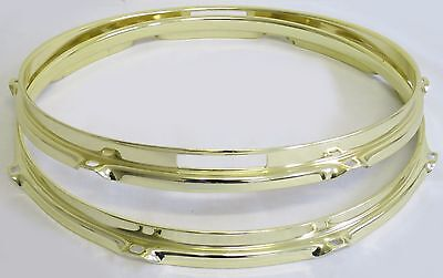 "NEW 13"" BRASS 2.3mm Triple Flange 8-HOLE SNARE DRUM HOOPS/RIMS SET, FREE SHIP!"