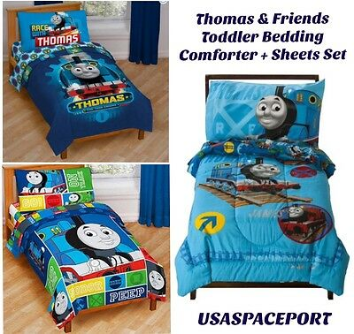 4pc Thomas Tank Engine TODDLER Comforter+Sheets SET Bed in a Bag Crib Room Decor