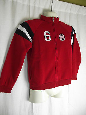 BNWT Boys Size 6 Red Navy White Soccer Logo Zip Front Windcheater Style Jacket