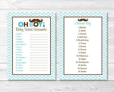 """Mustache Little Man Printable Baby Shower """"Baby Word Scramble"""" Game Cards"""