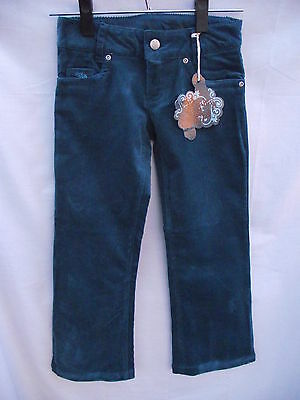 BNWT Girls Sz 7 Piping Hot Embroidered Teal Soft Cord Boot Leg Jeans RRP $32.99