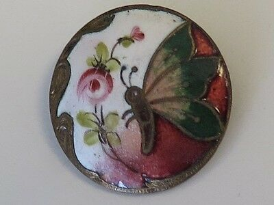 Antique Enamel Button - Butterfly & Pink Rose