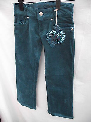 BNWT Girls Sz 10 Piping Hot Embroidered Teal Soft Cord Boot Leg Jeans RRP $32.99