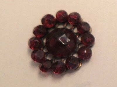 Antique Riveted Cranberry Glass Button - Faceted Glass
