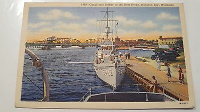 Canal and Bridge at the boat docks, Sturgeon Bay, Wisconsin Postcard