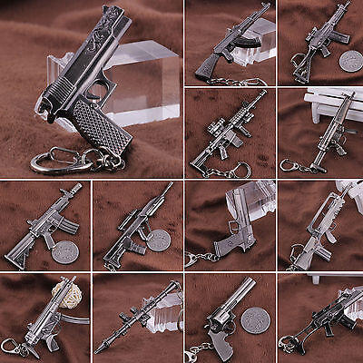 Mini ​Weapon Pistol Rifle Weapon Gun Model Metal Keyring Keychain Key Ring Chain