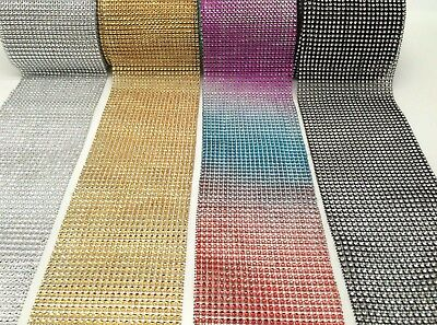 BUY3 GET 1 FREE Rhinestone Mesh Ribbon Trimming Bridal Craft X 1 METER Diamante