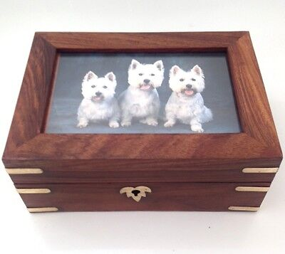 Hand Crafted Wooden Pet Urn Dog Cat Memorial Casket Cremation Ashes Brass Inlay