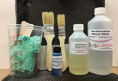 Carbon fibre twill Starter kit Epoxy Resin 500g Fabric fibreglass Repair