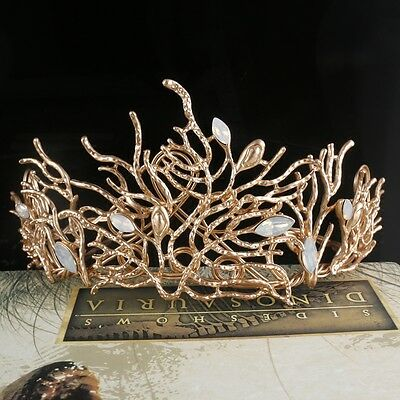 Baroque crystal Queen Gold Crown Tiara Wedding Bridal Headband Hair Accessories