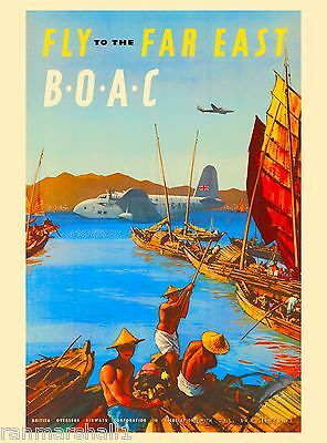 Far East Orient Fly Airline China Asia Asian Travel Advertisement Art Poster
