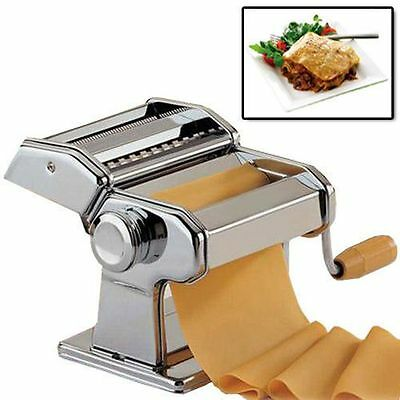 New Stainless Steel Pasta Lasagne Spaghetti Tagliatelle Maker Machine Cutter