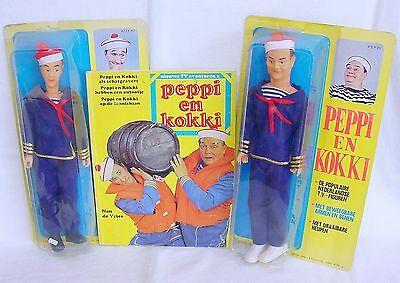 "KM Holland PEPPI EN KOKKI 12"" Action Figure Famous Dutch Comic Duo Set MISB`76!"