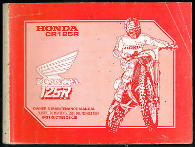 Workshop Maintenance Manual HONDA CR 125 R 1989 Mantenimiento - Instructieboekje