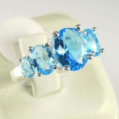 "R#10197 ""Simulated"" Sea Blue Topaz gemstone ladies silver ring Size 8.5"