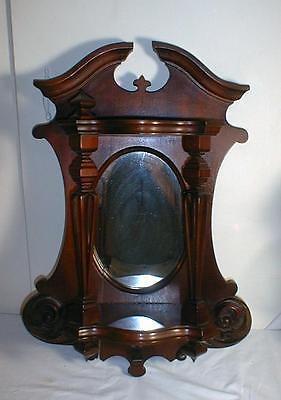 Pair Of Beautiful Victorian Wood Sconces With Mirrors And Shelves Knick Knack