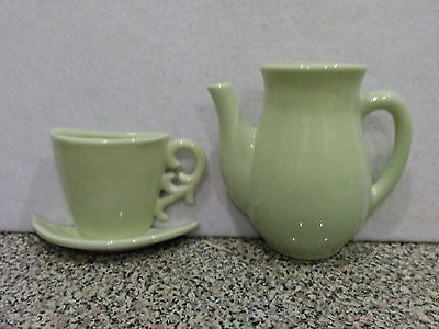 K's Collection ceramic mint green wall pocket teapot and coffee cup hanging home