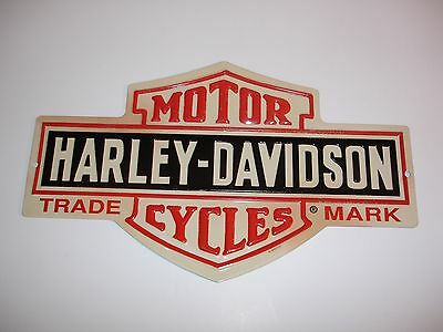 "Harley-Davidson ""Bar and Shield"" Die-Cut Embossed Ande Rooney Sign 15"" W X 9"" H"