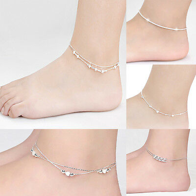 Women Foot Jewelry 925 Silver Plated Chain Anklet Bracelet Barefoot Sandal Beach