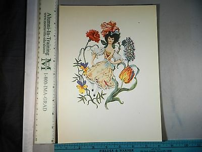 Rare Antique Original VTG Lady Surrounded By Flowers Color Litho Art Print